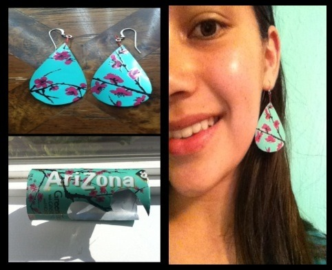 sunsetsprings:  I made these earrings myself in an hour and a half. I used an Arizona Iced Tea can, french loops, and some electrical wire.   Truebluemeandyou: These earrings are by far the prettiest recycled can jewelry I've seen. So when I see posts about people wanting to use recycled items for crafts - this is a good one!