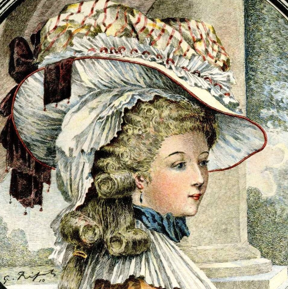 "Rose Bertin,   ""Minister of Fashion"" to Marie-Antoinette ( hand-colored plate by G. Ripart). From the book, Un Ministre des Modes sous Louis XVI, Mademoiselle Bertin: Marchande de Modes de la Reine, 1743-1813. By Pierre de Nouvion amd Emile Liez, illustrated by G. Ripart. Published by Henri Leclerc, Paris. 1911.  Bertin saw her creations in fabric as art, and her prices reflected the idea that she was selling wearable art, not just a day dress or a ball gown. She contributed to  how extravagant fashion in the decades before the French Revolution had become, as  Bertin was clothing all the royalty of Europe, not just the French- her reputation was international. Rose Bertin, the world's first acclaimed fashion designer!"