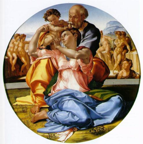 Michelangelo, Holy Family with Saint John the Baptist, c.1506.