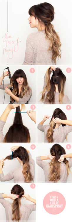 Start by adding some curl to your hair for texture. Create a low ponytail. We made a line from ear to ear and used the hair on bottom for this. Then divide the top into 3 even sections. Tease the middle section for added volume and texture. Then twist the middle section and pin it to the low ponytail using a large bobby pin for security. Tease the side section to add more texture. Twist it back and pin it to the low ponytail using a large bobby pin. Repeat the teasing on the other side and pin it to the low ponytail using a large bobby pin. Pull a few pieces out around your face to soften the look. Last, mist the whole thing with a medium holding hairspray. (via The Beauty Department: Your Daily Dose of Pretty. - A NEW TWIST)
