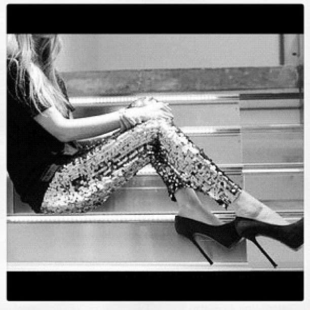 #glitter #pants #pumps #blonde #girl #chic (Taken with instagram)