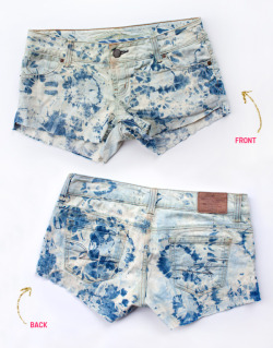 truebluemeandyou:  DIY Bleached Tie Dyed Shorts Tutorial. Yes, another tie dye tutorial, but I love how these turned out. Easy utorial from Sprinkles in Spring here.