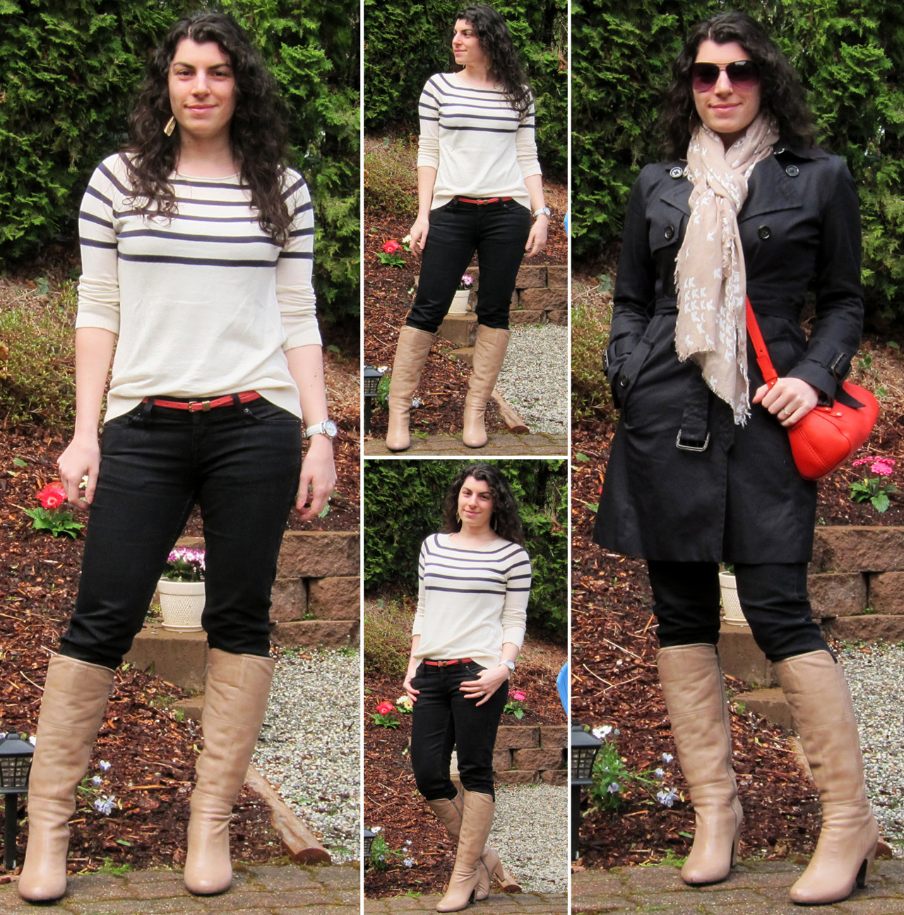 "04.06.2012 [fri] Worn to: work, double date w/Kindah and Michael (Tulalip Casino to see Brad Garett, dinner @ Bob's Burgers, tv at our place) Sweater: GAPBelt, watch, earrings: TargetJeans: Empyre (via Zumiez)Boots: Miz Mooz ""Flynn"" (gift)Trench: Banana Republic (via YLF swap)Scarf: Steve Madden (via Nordstrom)Purse: Kate SpadeShades: Forever 21  Thoughts:I felt great in this outfit, though felt under dressed at the comedy show. Maybe it had to do with the room being so fancy, or the ushers being in cocktail attire, but even though we were on the dressier end of the patron spectrum both my husband and I felt like we should've dressed much nicer!   Behind the outfit:Yes I know I wore these boots only two days ago but after the comments I got yesterday, I just wanted to wear some of my favorite things today! And I really love how they look over my black skinnies, so I formed the outfit around that. I definitely prefer to have a good dose of lightness with this pairing, and today I was feeling like wearing something especially light so I chose this cream and navy sweater. It drapes really well, so I enjoy semi-tucking it and did so today. I added the coral skinny belt for a little pop of color, and also because I'm enjoying filling belt loops with slim belts these days. Gold earrings for added warmth, white watch for added brightness, and hair down to play into the outfit's softness."