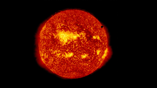 1360x768:  NASA - Venus in front the sun.