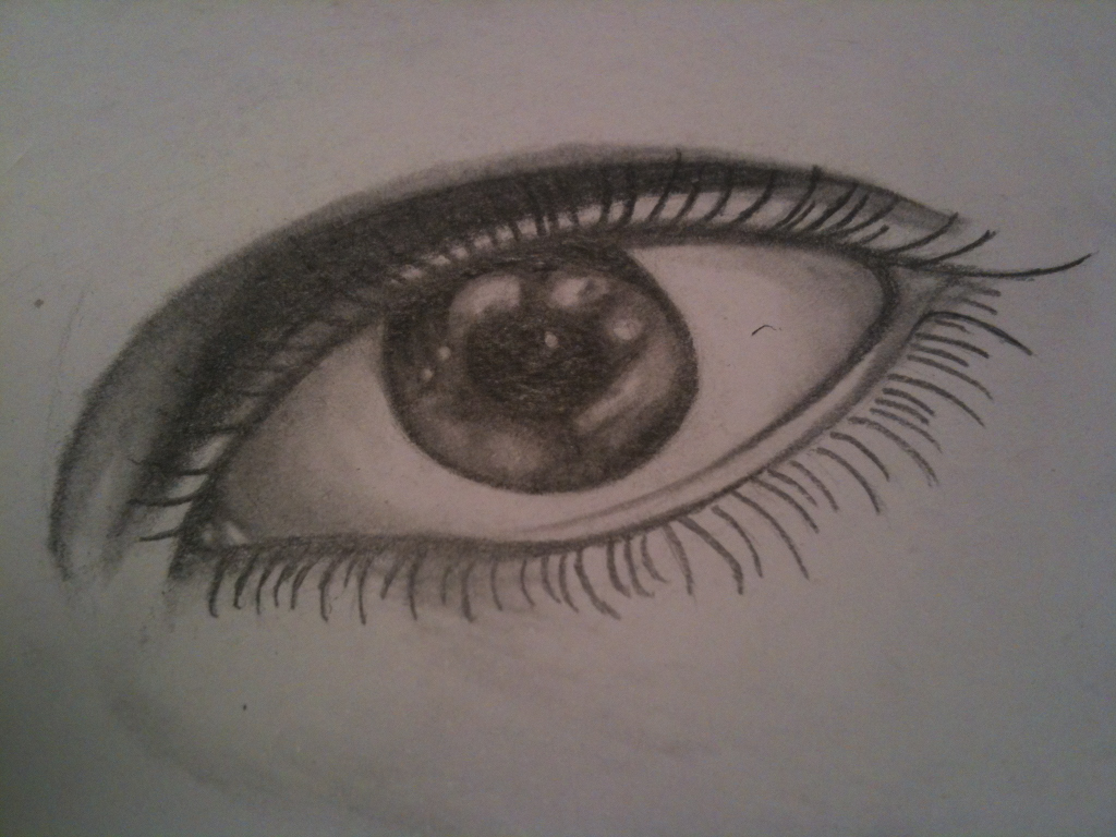 Mobile photo of my unfinished drawing of an eye. Looking for something new to draw, send me some suggestions! imanic.tumblr.com/submit