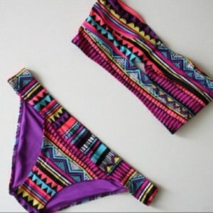 Wear this navajo neon bikini with white nail polish this summer!