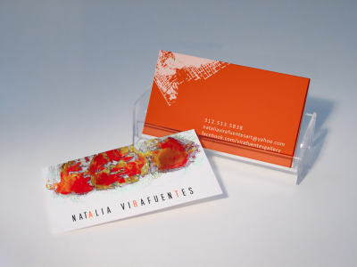 A business card I designed for Natalia Virafuentes, a freelance artist in the Chicago area.