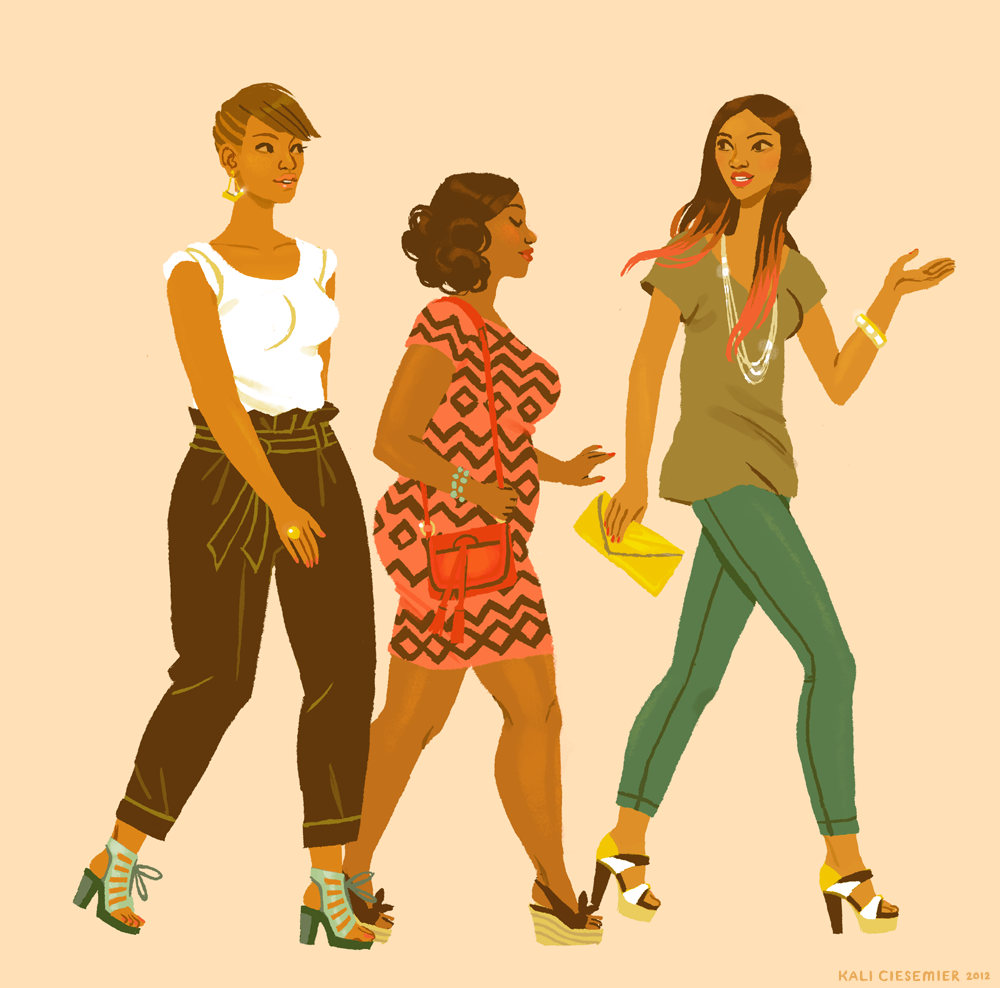 I saw this stylish squad of ladies walking around Baltimore the other weekend—they were too cool not to draw! - kalidraws