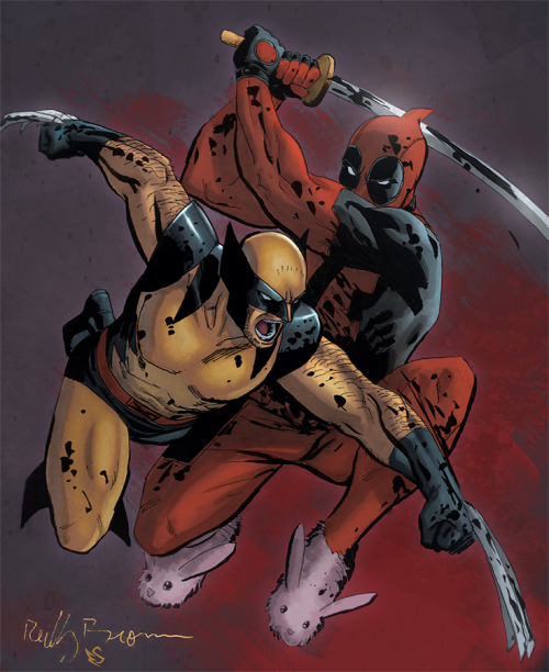 comicsforever:  Wolverine Vs Deadpool // artwork by Reilly Brown and Eddy Swan (2012)