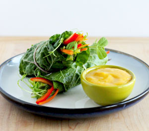 findvegan:  Raw salad rolls with spicy mango dipping sauce!