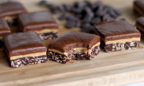 gastrogirl:  healthy triple-decker chocolate peanut butter fudge.
