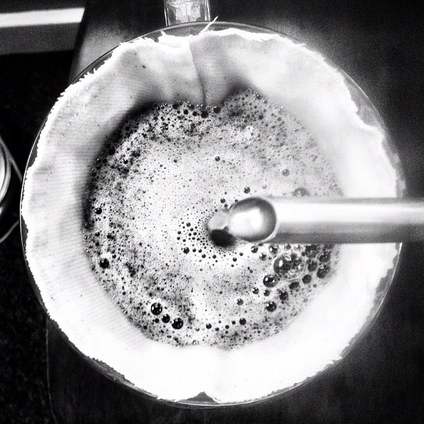 Center pour. #coffee #Blackandwhite #pour #brewing #cup #kettle #cloth (Taken with instagram)