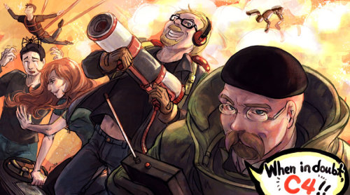 deastrumquodvicis:   Mythbusters by ~arashicat  GUYS I HAVE FOUND MYTHBUSTERS FANART  ASDGFSDTHDRYJTGSETGSD EVEN BUSTER IS INCLUDED. HOLY SHIT.