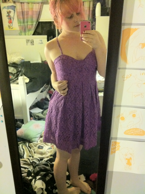 i bought this really lovely dress today.  i can't remember loving the colour purple so much but i absolutely had to have it when i saw it.   so here is a picture of me in a purple lace dress c: