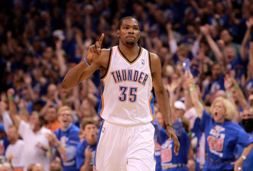 Congratulations to Kevin Durant and the Oklahoma City Thunder! Four years after moving the franchise from Seattle, the Thunder have captured a Western Conference Final and are headed to their first NBA championship as the Oklahoma City Thunder! After dropping the first two games of the series, the Thunder came back to win four straight games to capture the series and drop the San Antonio Spurs on the way to victory. The determination and focus to come back after digging themselves into a deficit shows how hard work can truly help capture your dreams. Oklahoma City will be playing the winner of the Eastern Conference Finals, either the Boston Celtics/Miami Heat. Congratulations again to the Thunder organization and the city of Oklahoma City!