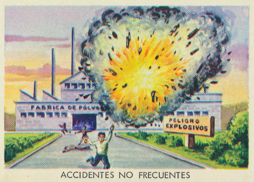 A panel from a Mexican lesson sheet about injuries and accidents. Printed in Mexico in 1969. More Mexican illustration here.