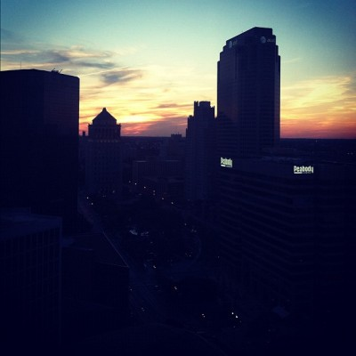 Beautiful sunset over my city. #STL #StLouis #instagood #iphonesia #photooftheday #sunset #downtown #cityscapes #summertimefly #summer  (Taken with instagram)