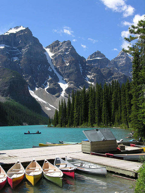 visitheworld:  Canoes at Lake Louise in Banff National Park, Canada (by yewco).   Every summer:) will be here in three weeks
