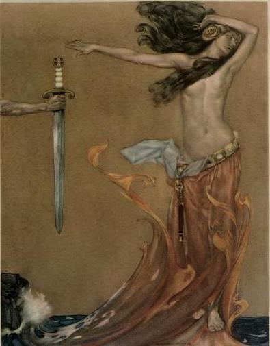 William Russell Flint illustration forLe morte Darthur; How Sir Percivale for penance rove himself through the thigh; And how she was known for the devil