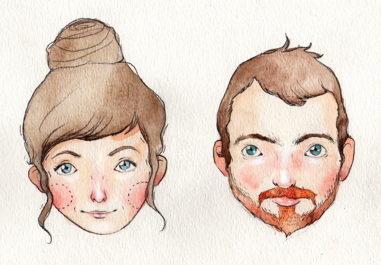 ois:  My lovely wonderful new flatmate Eden and I, illustrated under request for our houswarming by the very fantastic Danny Brito. Awesome eh?