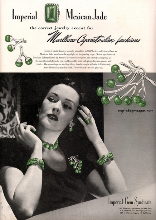 (via : myvintagevogue » Accessories » Imperial Gem Syndicate - Mexican Jade 1943)