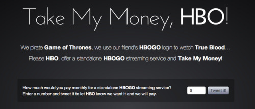 theatlantic:  3 Very Simple Reasons Why You Can't Get HBO Go, Exclusively  HBO has a message for the thousands of fans begging to pay for its online streaming service, HBO Go, exclusively. Thanks, but no thanks. We don't want your money. Even if you'll just pirate our expensive stuff, otherwise. Why is HBO turning away hoards of people practically begging the company to take their money … evenmore money than they currently make per subscriber right now? TV is complicated, but let's make this simple. I've got three big reasons why HBO Go won't go it alone: the price reason, the political reason, and the demographic reason. Read more.