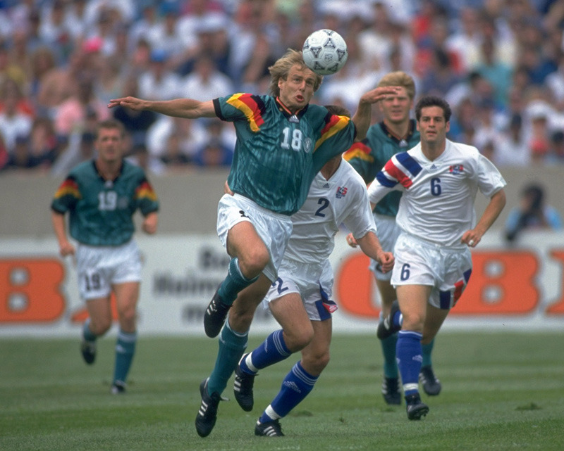 Germany's Jurgen Klinsmann in action, June 13, 1993. USA V Germany (3-4) Soldier Field, Chicago.
