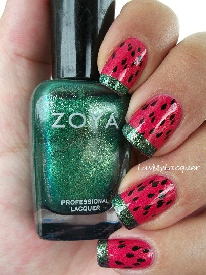 Watermelon pedicure idea, using our fave, #Zoya!