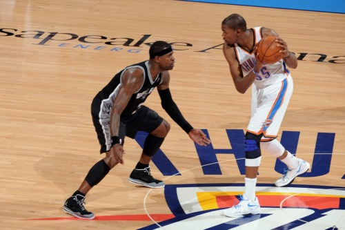 nba:   June 6, 2012 - Western Conference Finals Game 6: San Antonio Spurs at Oklahoma City Thunder. (Photo by Garrett W. Ellwood/NBAE via Getty Images)