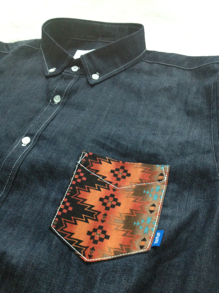 8 oz. raw denim native s/s shirt sample….