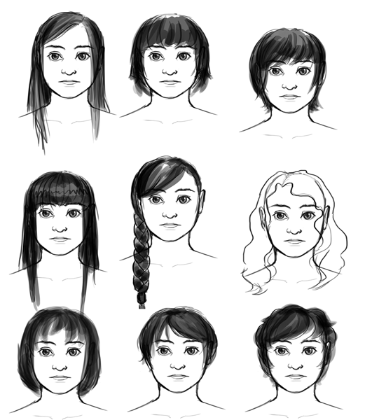 Trying to figure out hair for Esther…Or whether I should just keep her old hair. :I Or maybe it should go up rather than short… Hhhhnngh.