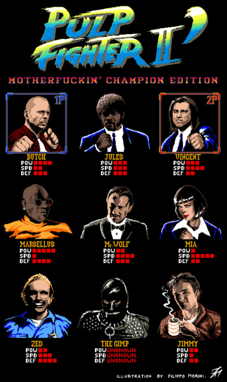 it8bit:  Pulp Fighter II: Motherf***in' Champion Edition Created and submitted by Filippo Morini T-shirt design. A mash-up between Pulp Fiction and Street Fighter II Champion Edition. T-shirt available HERE.
