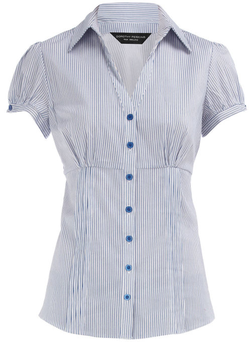 Blue Stripe Work Shirt by Dorothy PerkinsBlue stripe work shirt with short sleeves and pintuck detail. 98 cotton, 2 elastane. Machine washable.