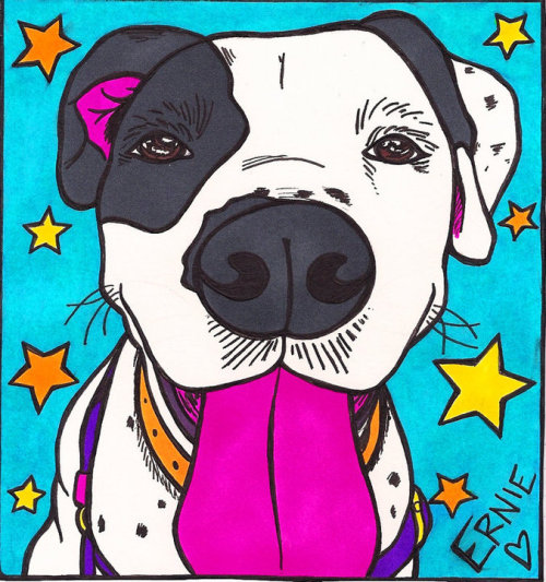 My artistic rendition of Ernie - one of the shelter dogs I trained who stole my heart <3
