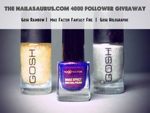 thenailasaurus:  The Nailasaurus 4000 Follower Giveaway! Day 4: HTF (Hard to Find) British Nail Polish Click here to enter!  crazy awesome giveaway!