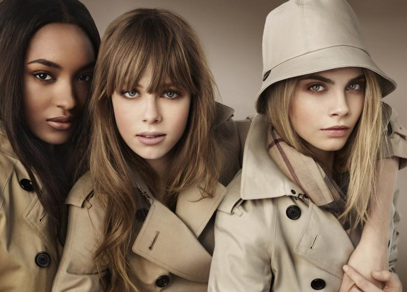 Burberry Beauty main 2012 campaign by Mario Testino with Cara Delevingne, Jourdan Dunn & Edie Capmbell.