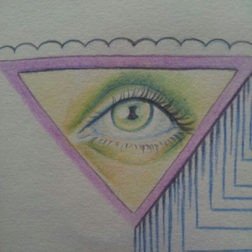 Tried to draw an eye with colour pencils. (Taken with instagram)