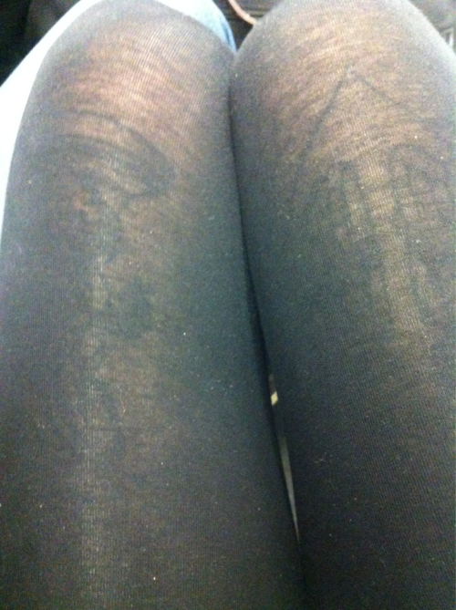 Being able to see my thigh tattoos through my leggings concerns me. My butt probably stretches the fabric more than my thighs do =| Lucky I'm wearing my boyfriends oversized jumper that covers that area ^_^