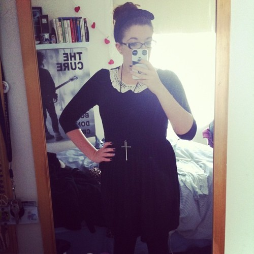 Dressed like Wednesday Addams with lazy hair.. (Taken with instagram)