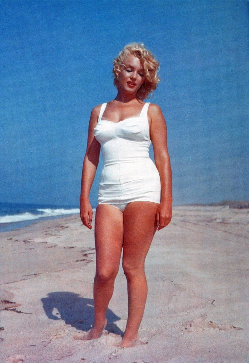 1957: Marilyn on the beach by Sam Shaw