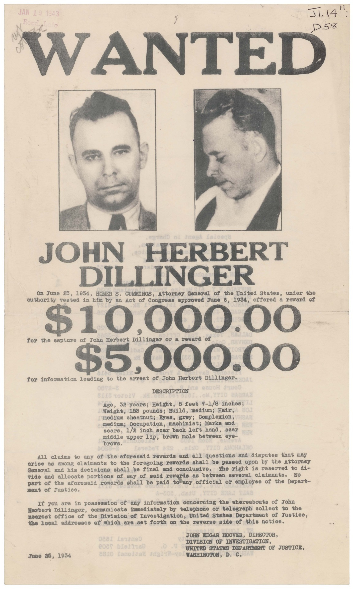 John Dillinger was the nation's top public enemy in 1934. He was charged in a string of bank robberies and for the murder of a police officer after being released from prison on parole for robbing a grocery store. Once again in police custody, Dillinger broke out of prison and fled the scene in a stolen car. He drove the car across state lines,  violating the National Motor Vehicle Theft Act (a federal offense). The investigation was then turned over to the Federal Bureau of Investigation (FBI). This wanted poster was printed by the government in June 1934. Dillinger was located and surrounded by FBI agents at the Chicago Biograph Theater on July 22. Dillinger reached for his gun, and was shot and killed at the scene. FBI Wanted Poster of John Dillinger, 06/25/1934, Publications of the U.S. Government (ARC 306713)