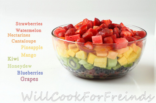 foodfuckery:  Fresh fruit and berries are in season! Enjoy them in this sweet and light rainbow fruit salad. Recipe