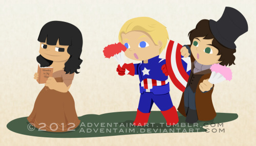 Something I made for my friend based on her crushes. Captain America and Jefferson struggling to give her flowers. If they pay attention, they should see that Weasley is her king. XD It's like Bucky Barnes is also fighting Capt. America.