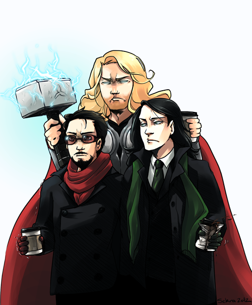 frost-iron:  sekra:  Thor, please, he's a grown supervillain. This is embarrassing.  #thor took it upon himself to chaperone all their dates #he's really not subtle about it  I love how tony's shaking xD