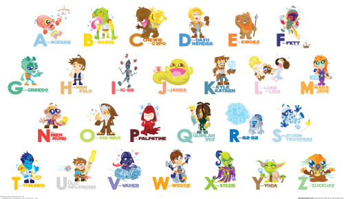Star Wars Alphabet, teaching children the right way!! Click to read about how the artist was inspired to create this.
