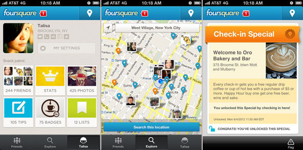 laughingsquid:  A Tour of Foursquare's Redesigned App