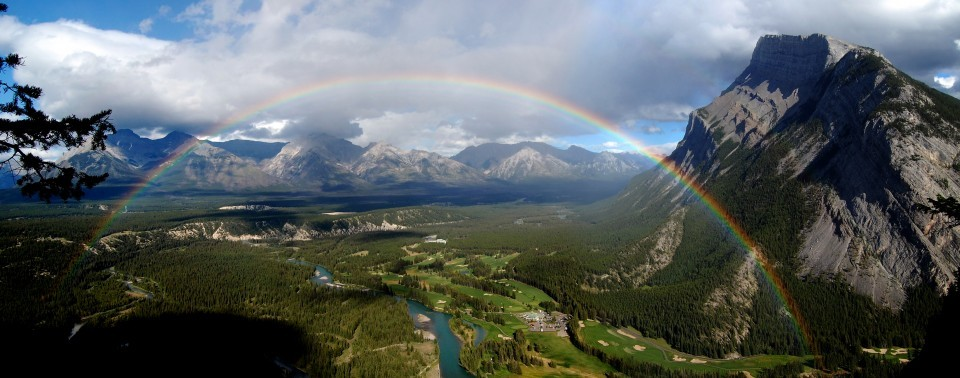 Rainbow at Mount Rundle, Canada Photographer: Pellucid Wombat via Summit Post  Mount Rundle is a mountain in Banff National Park overlooking the towns of Banff and Canmore, Alberta. The mountain was named by John Palliser in 1858 after Reverend Robert Rundle, who had visited the Banff area during the 1840s.