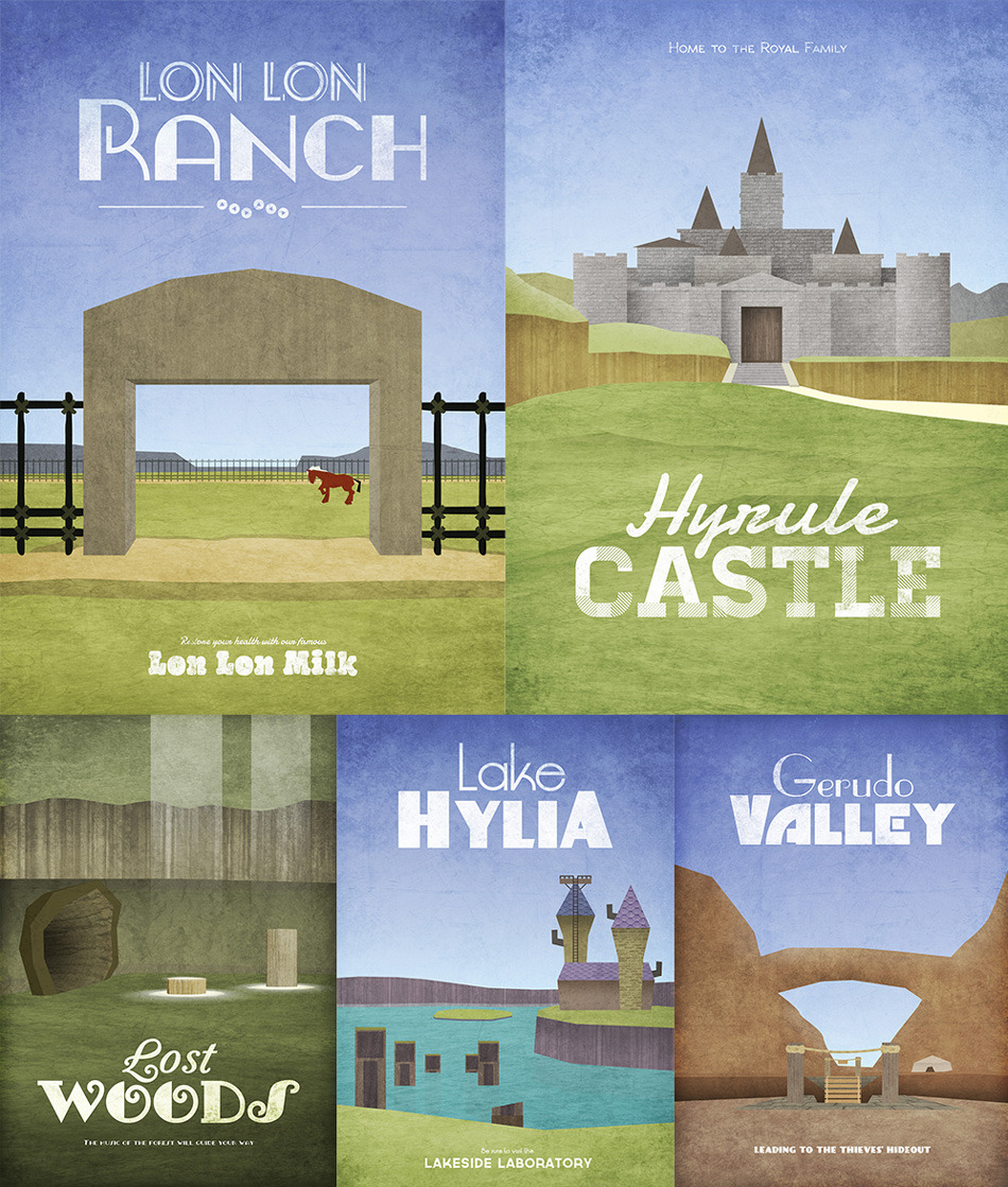 it8bit:  Hyrulean Travel Posters (Part II) Created & submitted by Dean Walton Artist note: After so many requests I have decided to create a second set of prints celebrating the beautiful and varied locations from the land of Hyrule. Now available in a range of sizes in poster or canvas @GamerPrint The first series can be seen here.