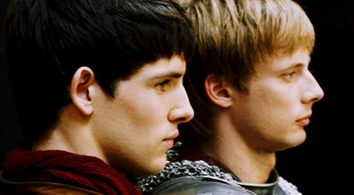 Colin Morgan as Merlin and Bradley James as Arthur in BBC's Merlin