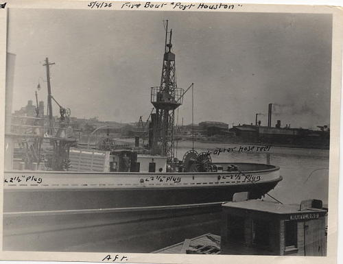 Fire Boat at Port Houston, 4 May 1926, Bridge and Ferry Photographs, ca. 1926-1947, (Collection # 5010.004)  This work is free of known copyright restrictions.  Please attribute to City of Boston Archives.